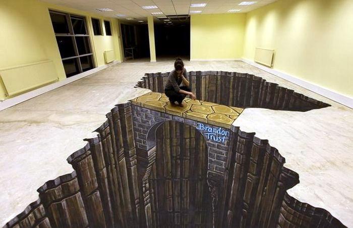 3D рисунки на полу (18 фото)
