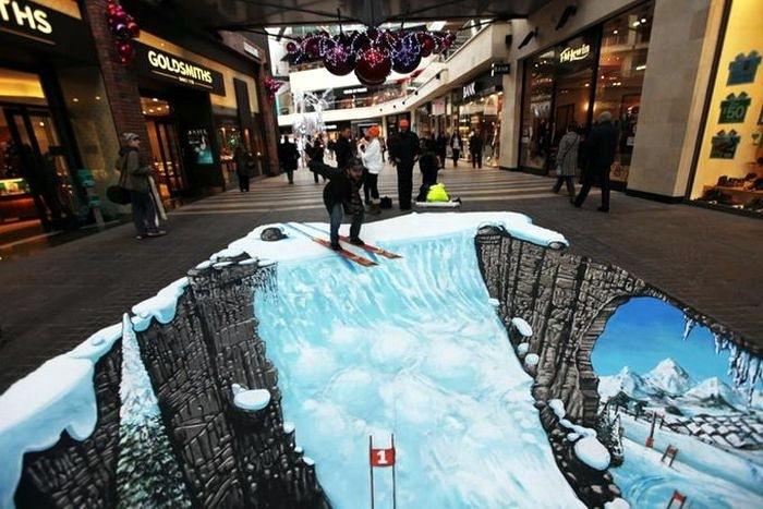 3D рисунки на полу 14