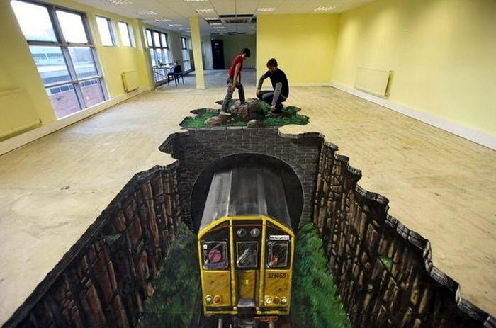 3D рисунки на полу 15